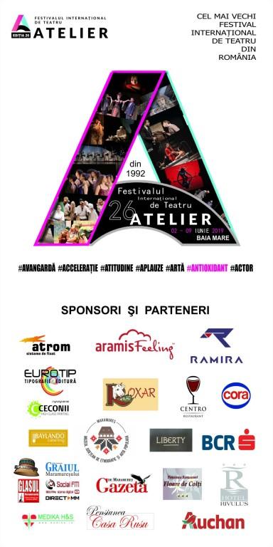 afis ATELIER 26 – organizatori, sponsori și parteneri