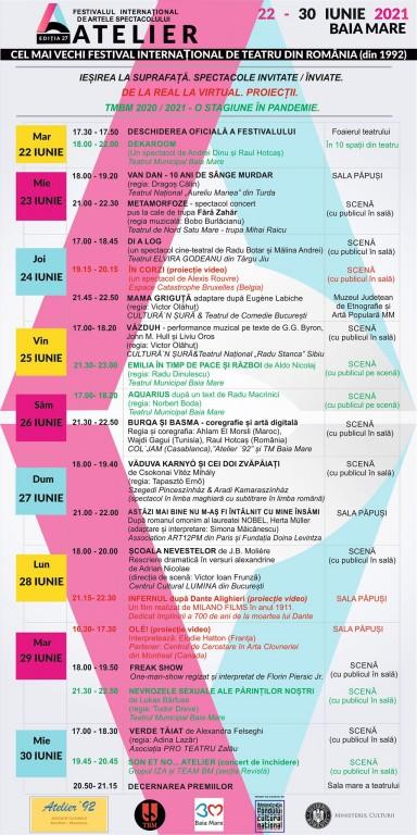 afis ATELIER 27 – programul festivalului